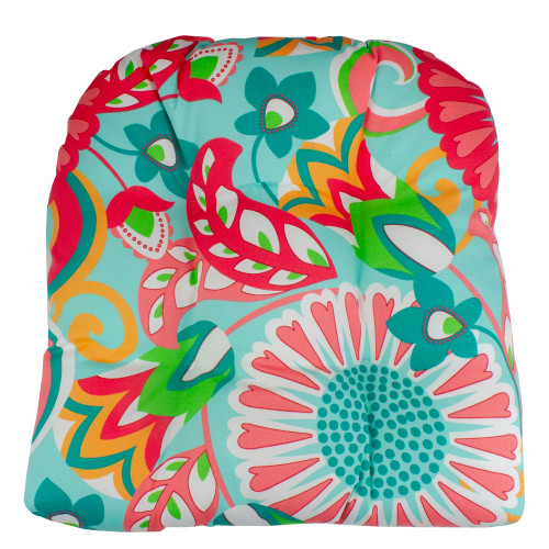 """20"""" Turquoise and Coral Floral Pattern Outdoor Patio Throw Pillow - IMAGE 1"""
