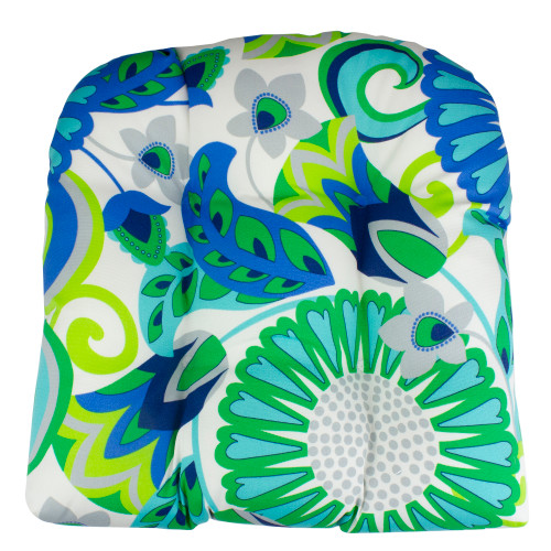 """20"""" Blue and Green Floral Pattern Outdoor Patio Throw Pillow - IMAGE 1"""