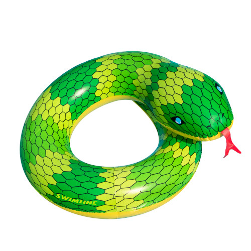 """28"""" Green and Yellow Snake Swimming Pool Inner Tube Float - IMAGE 1"""