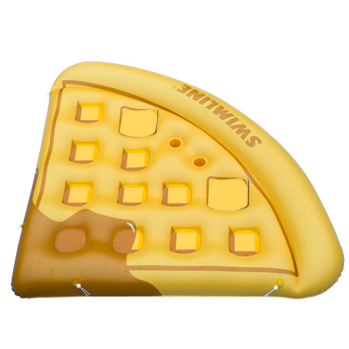 """82"""" Yellow and Brown Waffle Slice Inflatable Swimming Pool Raft - IMAGE 1"""