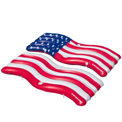 """72.5"""" Set of 2 American Flag Patriotic Swimming Pool Inflatable Floats - IMAGE 1"""