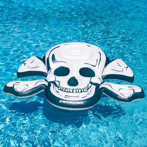 """81"""" White and Blue Skull and Crossbones Inflatable Swimming Pool Raft - IMAGE 1"""