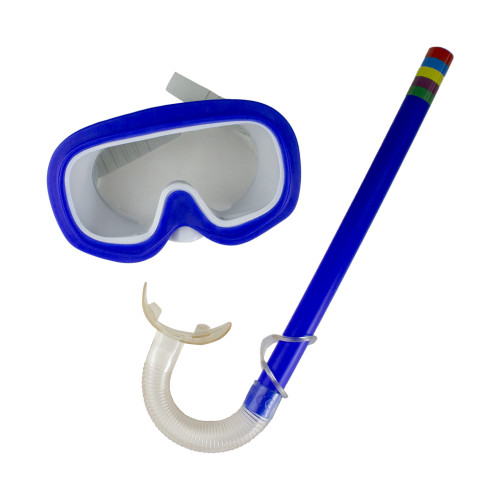 Age 3-8 - Blue Mask and Snorkel Swimming Set for Children - IMAGE 1