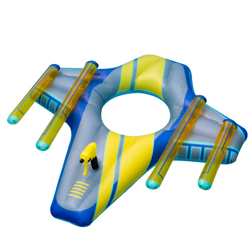 """46.5"""" Blue and Yellow Galactic Fighter Squirter Swimming Pool Float - IMAGE 1"""