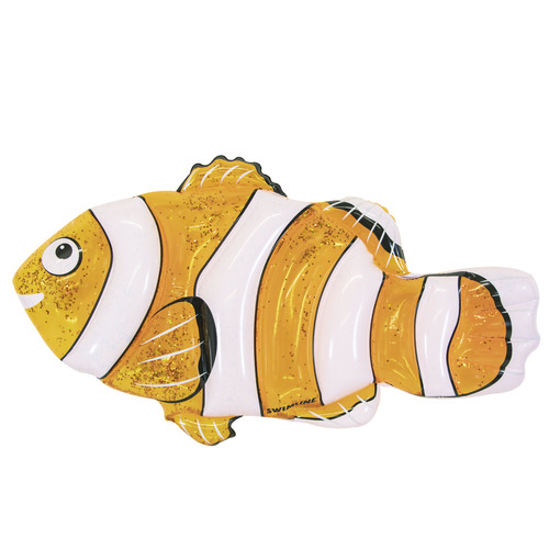 "72"" Orange and White Clown Fish Swimming Pool Inflatable Raft - IMAGE 1"