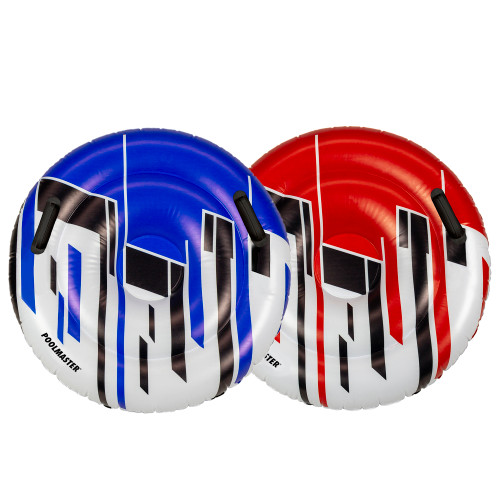 "Set of 2 Red and Blue Racing Saucers Inflatable Swimming Pool Floats, 28.5""D - IMAGE 1"