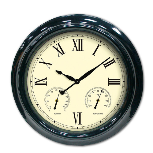 """18"""" Black Outdoor Patio Wall Clock with Hygrometer and Thermometer - IMAGE 1"""