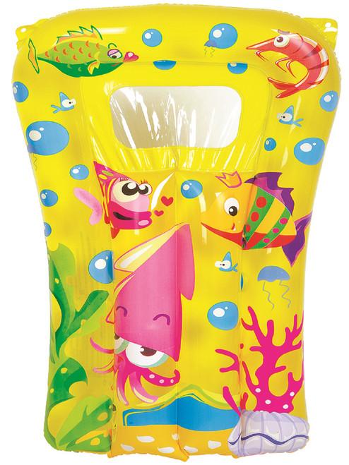 "29"" Yellow and Pink Sea World Inflatable Kick Board - IMAGE 1"