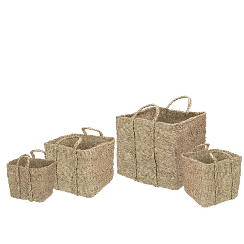 Set of 4 Rustic Beige Square Wicker Table and Floor Baskets - IMAGE 1