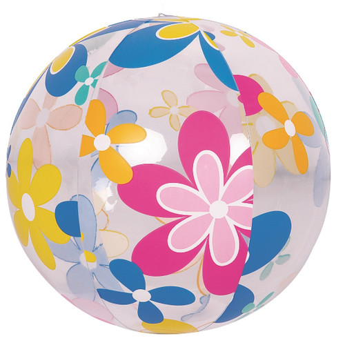 """20"""" Blue and Pink Flower Print Beach Ball - IMAGE 1"""