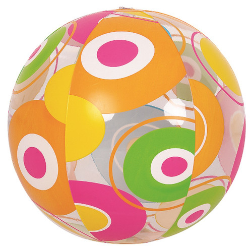 """20"""" Orange and Pink Circles Transparent Inflatable Beach Ball - IMAGE 1"""