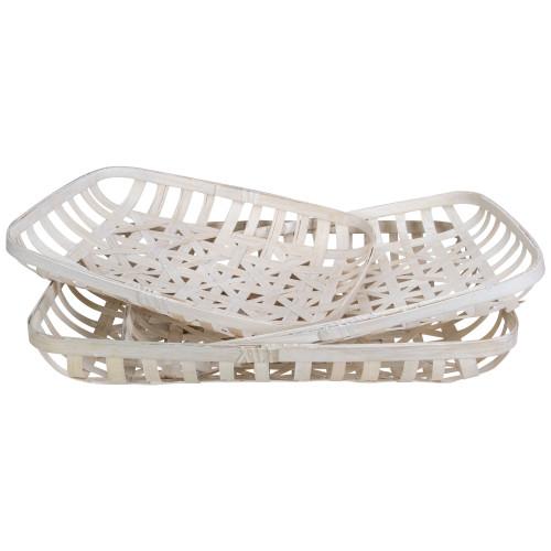Set of 3 White Rectangular Lattice Tobacco Table Top Baskets - IMAGE 1