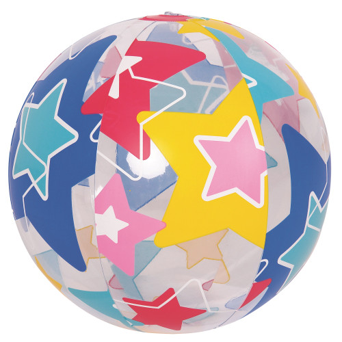 """20"""" Blue and Green Star Patterned Beach Ball - IMAGE 1"""
