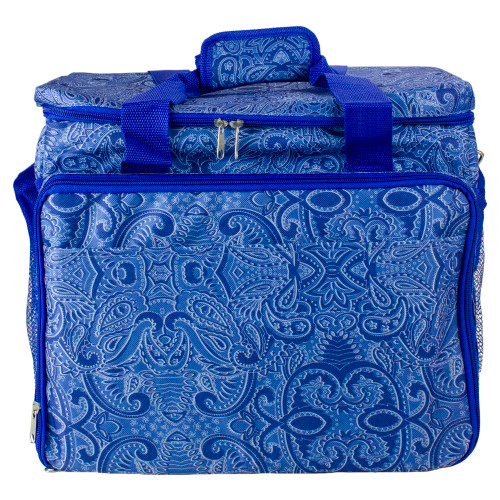 """14.25"""" Blue Paisley Collapsible Cooler with Pop Up Table - IMAGE 1"""