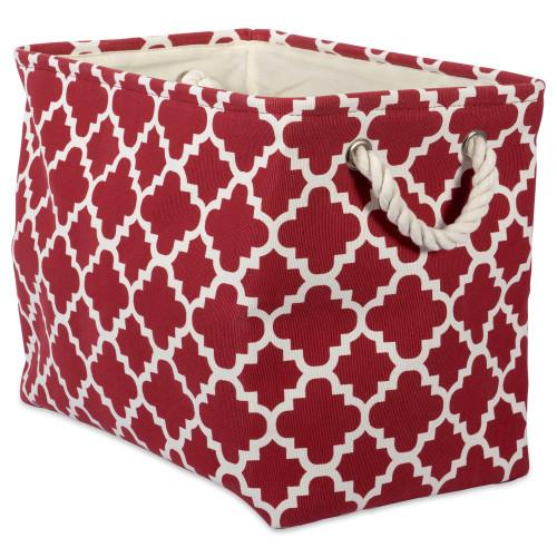 "14"" Red and White Lattice Rectangular Storage Basket - IMAGE 1"