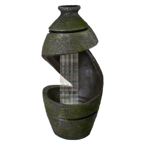 """31"""" Green and Gray Mossy Outdoor Garden Water Fountain - IMAGE 1"""