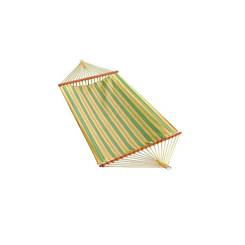 """80"""" x 52"""" Weather Resistant Blue and Yellow Striped 2-Point Double Hammock - IMAGE 1"""