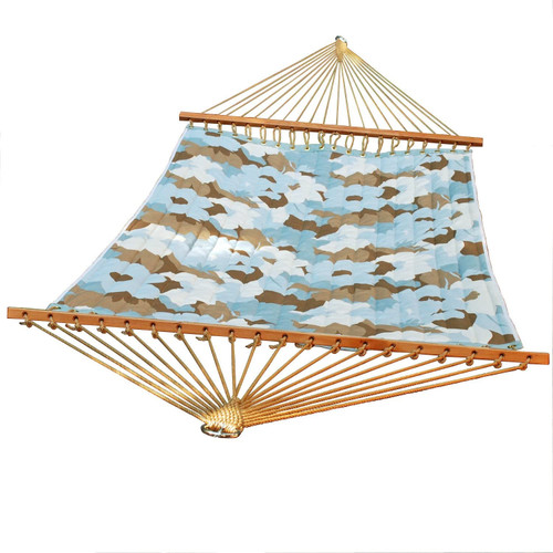 """82"""" x 55"""" Blue and Brown Large Floral Quilted Double Hammock - IMAGE 1"""