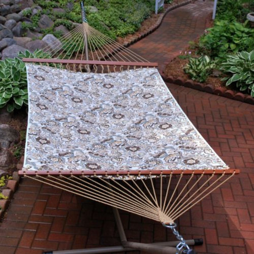 """82"""" x 55"""" Blue and Brown Floral Reversible 2-Point Quilted Double Hammock - IMAGE 1"""