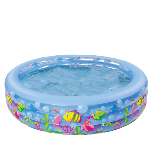 5ft Blue and Yellow Inflatable Aquarium Kiddie Swimming Pool - IMAGE 1