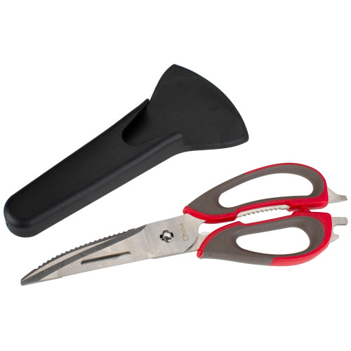 """9.5"""" Gray and Red Multi-Purpose Kitchen Shears - IMAGE 1"""