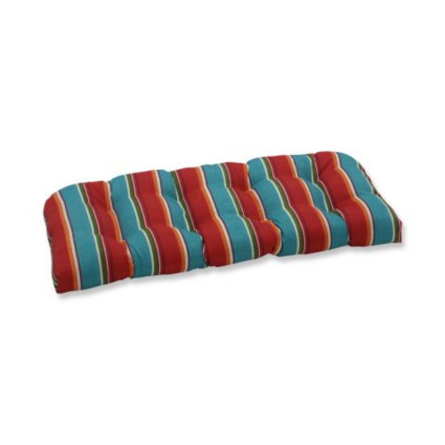 """44"""" Blue and Orange Striped Outdoor Patio Tufted Wicker Loveseat Cushion - IMAGE 1"""