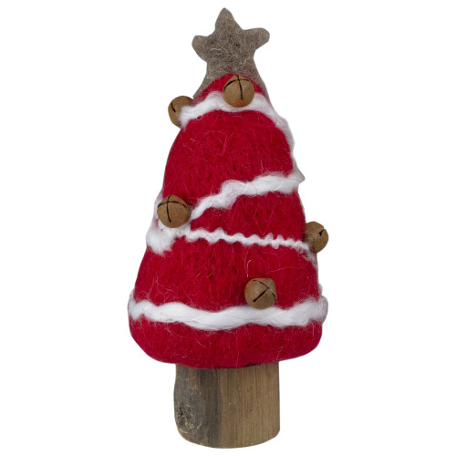 """6"""" Red and White Christmas Tree with Rustic Jingle Bells Tabletop Decor - IMAGE 1"""