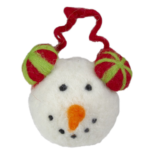 """4"""" Snowmans Face Wearing Red and Green Striped Earmuffs Christmas Ornament - IMAGE 1"""