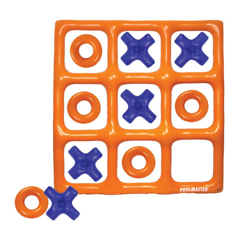 """48"""" Orange and Blue Reversible Tic Tac Toe Inflatable Pool Game - IMAGE 1"""