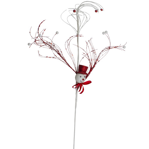 """37.5"""" Red and White Snowman Christmas Spray - IMAGE 1"""