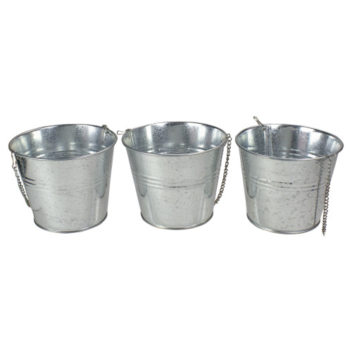 Set of 3 Round  Metal Bucket Hanging Planters - IMAGE 1