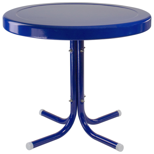 "22"" Outdoor Retro Tulip Side Table, Blue - IMAGE 1"