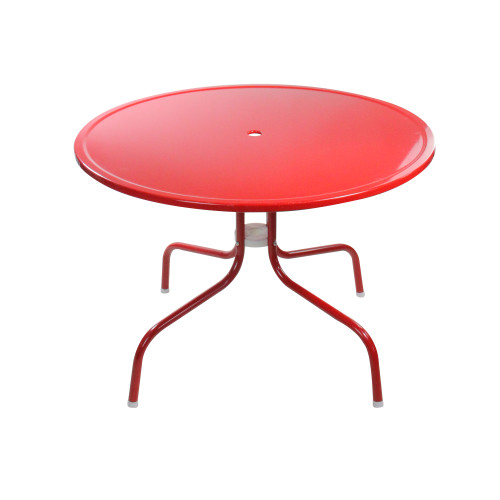 39.25-Inch Outdoor Retro Metal Tulip Dining Table, Red - IMAGE 1