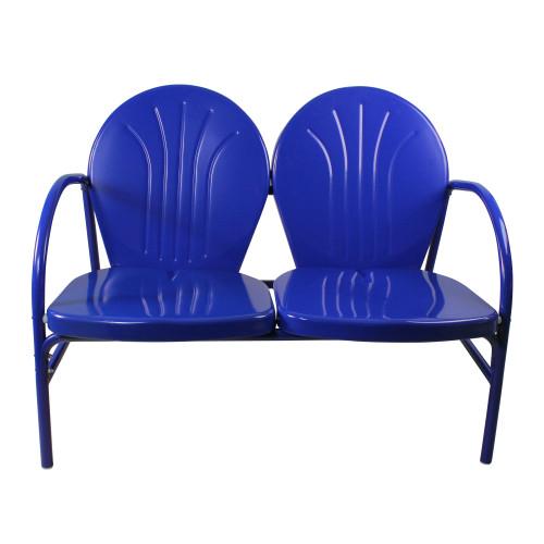 47-Inch Outdoor Retro Tulip Loveseat, Blue - IMAGE 1