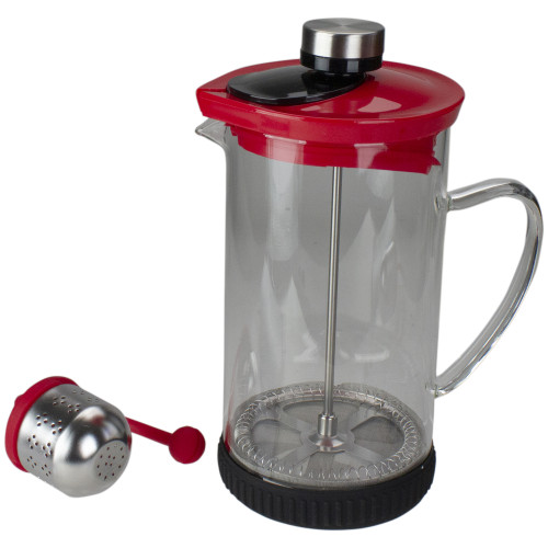 Red and Clear French Press Coffee and Brewed Tea Maker - IMAGE 1