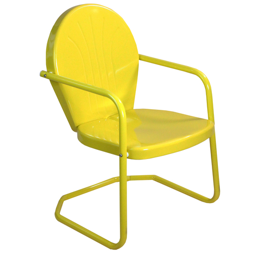34-Inch Outdoor Retro Tulip Armchair, Yellow - IMAGE 1