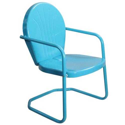 34-Inch Outdoor Retro Tulip Armchair, Turquoise Blue - IMAGE 1