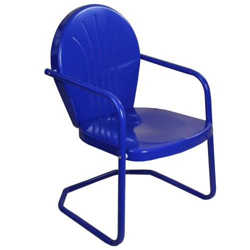 34-Inch Outdoor Retro Tulip Armchair, Blue - IMAGE 1