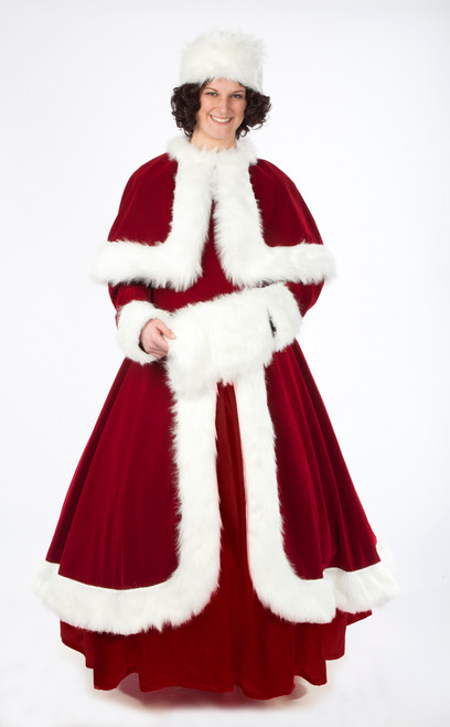 6-Piece Burgundy and White Elegant Velvet Mrs. Claus Costume - Adult Size Large - IMAGE 1