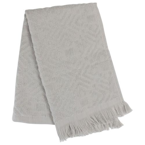 """Set of 2 Gray Fringed Hand Towel Kitchen Decor - 22"""" - IMAGE 1"""