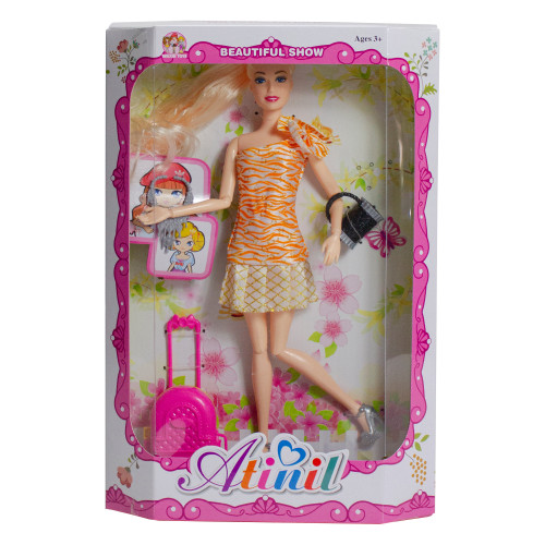 """11"""" Orange and Pink Beautiful Fashion Diva Play Doll with Multiple Accessories - IMAGE 1"""