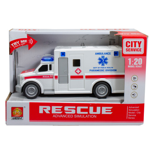 "7.5"" White and Red Friction Powered Play Truck Rescue Ambulance with Lights and Siren - IMAGE 1"