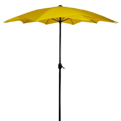 8.85ft Outdoor Patio Lotus Umbrella with Hand Crank, Yellow - IMAGE 1