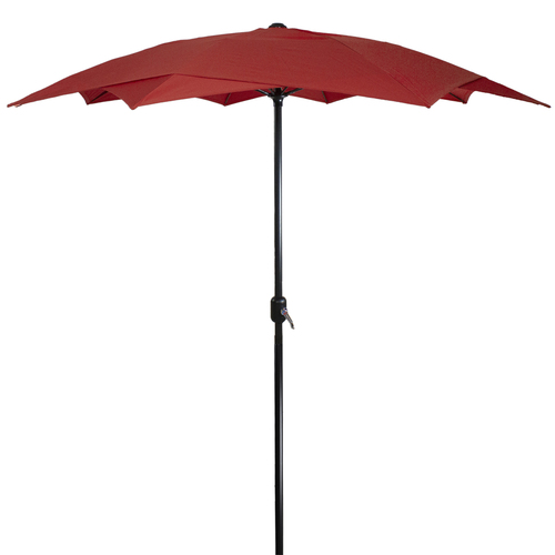 8.85ft Outdoor Patio Lotus Umbrella with Hand Crank, Terracotta - IMAGE 1