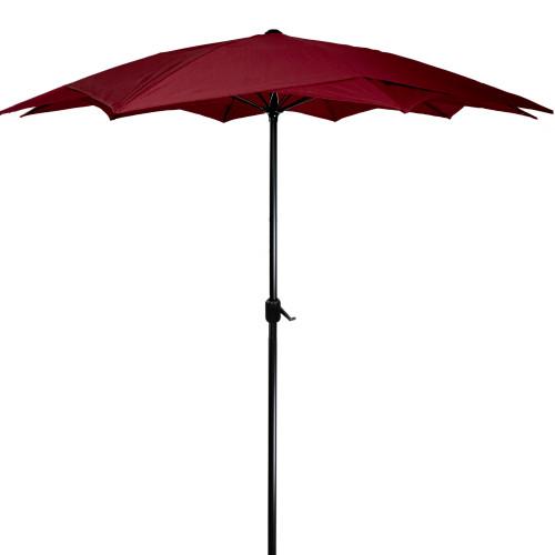 8.85ft Outdoor Patio Lotus Umbrella with Hand Crank, Burgundy - IMAGE 1
