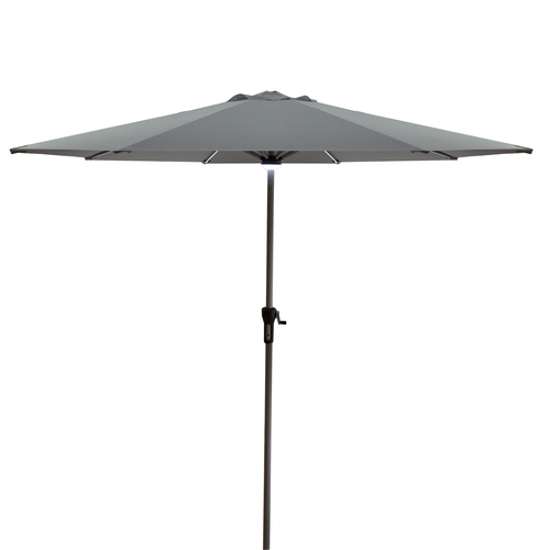 9ft Solar Lighted Outdoor Patio Market Umbrella with Hand Crank and Tilt, Gray - IMAGE 1