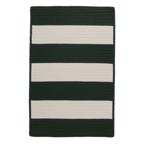 """6"""" x 9"""" Green Striped All Purpose Handcrafted Reversible Rectangular Outdoor Area Throw Rug Sample - IMAGE 1"""
