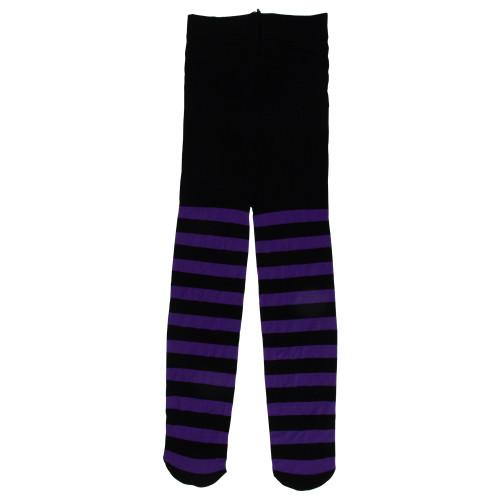 "11"" Black and purple striped stockings - IMAGE 1"