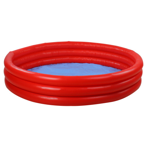 """39"""" Red Triple Ring Round Inflatable Children's Swimming Pool - IMAGE 1"""