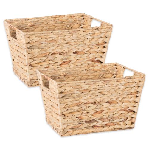 "Set of 2 Beige Unique Medium Water Hyacinth Rectangular Storage Basket, 11"" - IMAGE 1"